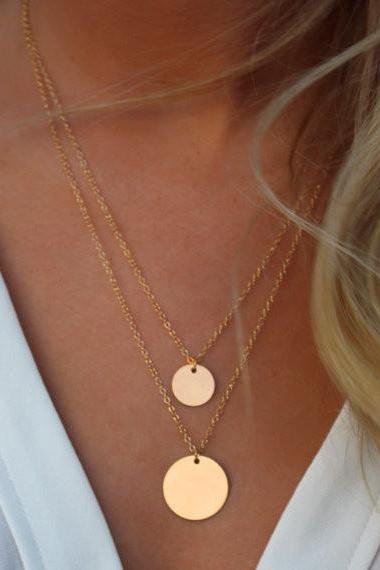 Street Snap Sequins Double Necklace