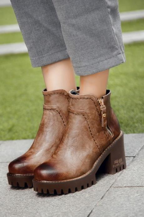 Chunky Heels Ankle Boots with Side Zippers