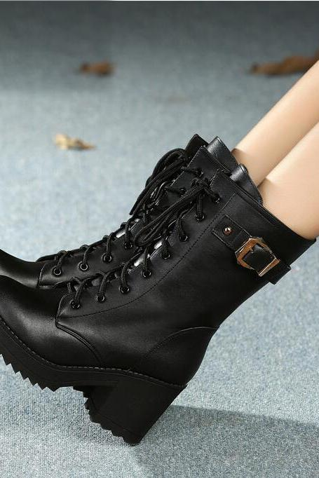 High Heeled Side Zipper Leather Buckle Martin Boots