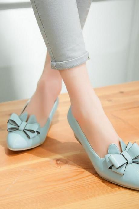 Faux Leather Bow Accent Pointed-Toe Block Heels