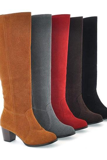 Fashion Solid Color Chunky Heel Non-Slip High Boots
