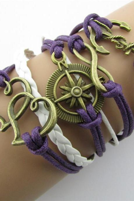 Anchor Heart Hand-made Leather Cord Bracelet