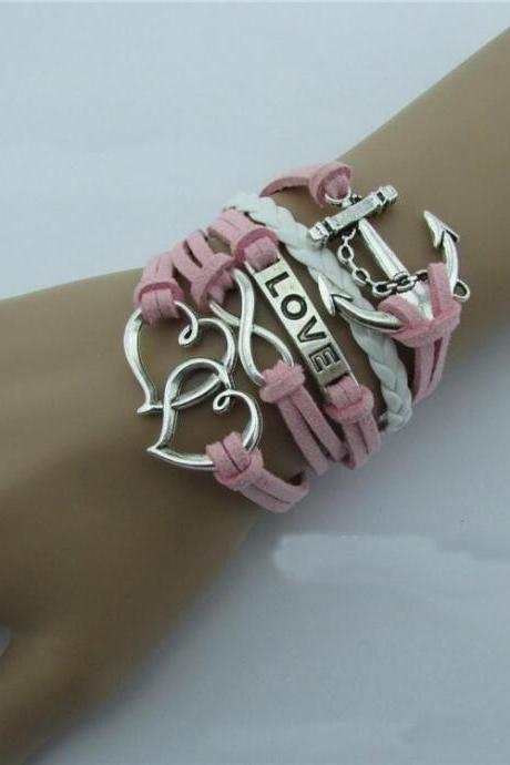 Anchor Eight LOVE Fashion Leather Bracelet