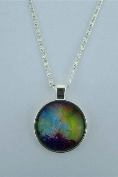 Colorful Starry Sky Diamond Pendant Necklace
