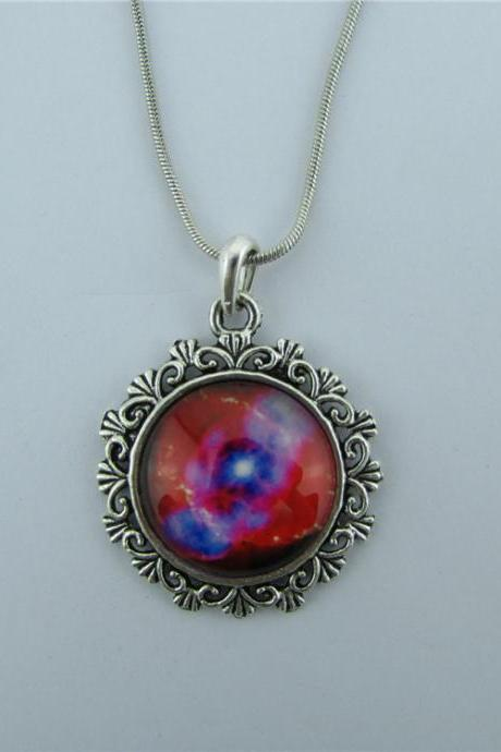 Red Style Starry Sky Diamond Necklace