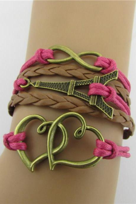 Eiffel Tower Heart Multilayer Woven Bracelet