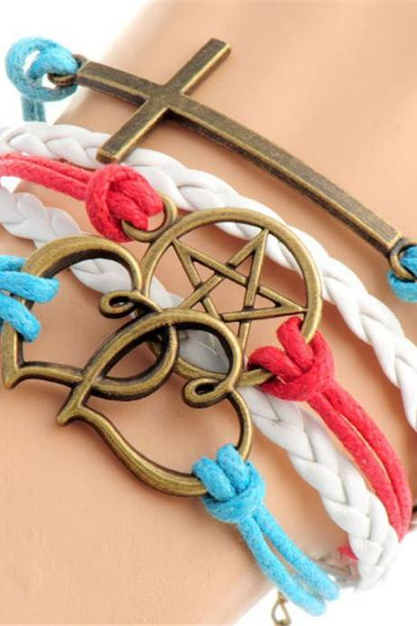Cross Heart Pentagram Colorful Bracelet