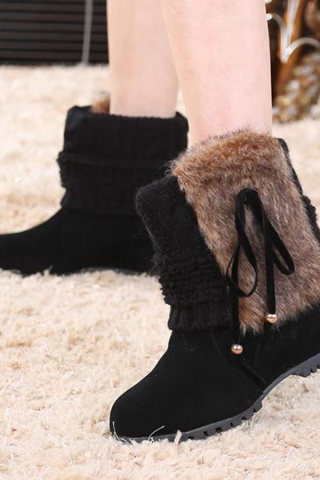 Cute Wool Tube Increased Heel Short Boots