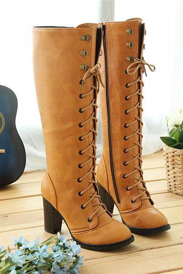 Retro Style Cross Belt High Martin Boots