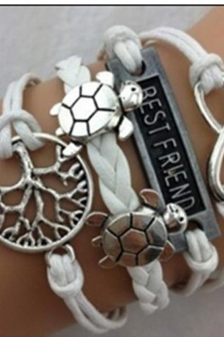 Cute Tortoise Tree Leather Cord Bracelet