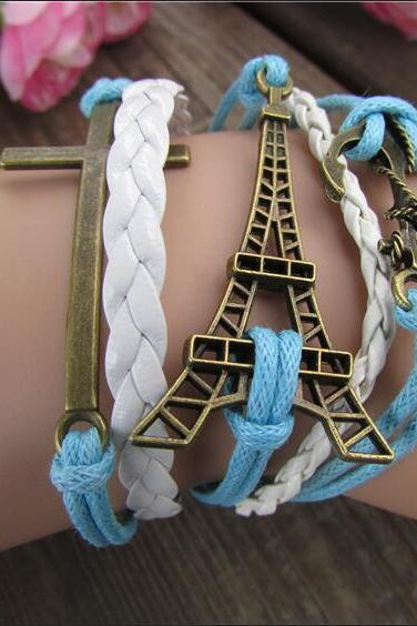 Eiffel Tower Bright Wax String Woven Bracelet