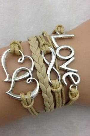 Love Heart Leather Cord Bracelet