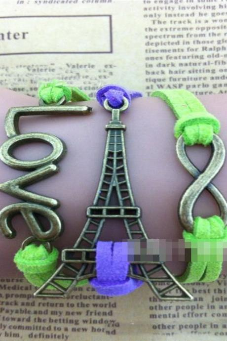 Eiffel Tower Love Wax String Woven Bracelet