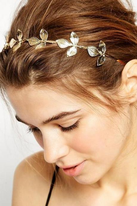 Beautiful Golden Leaves Headband Hair Accessory