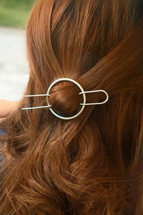 Geometric Copper Circle Half Holding Hairpin