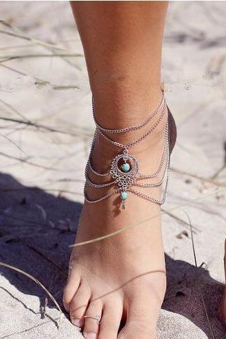 National Style Hollow Out Droplets Anklet