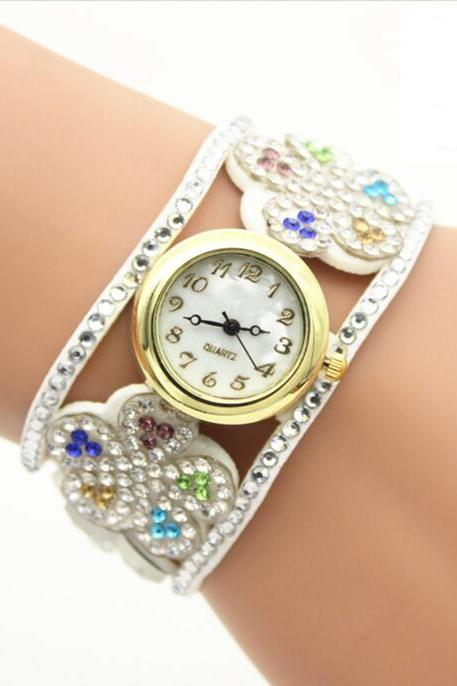 Crystal Hollow Out Flower Strap Watch