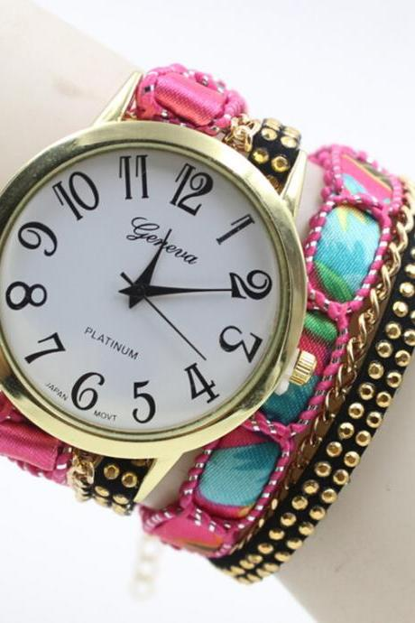 Gradient PU Strap Twine Lady's Watch
