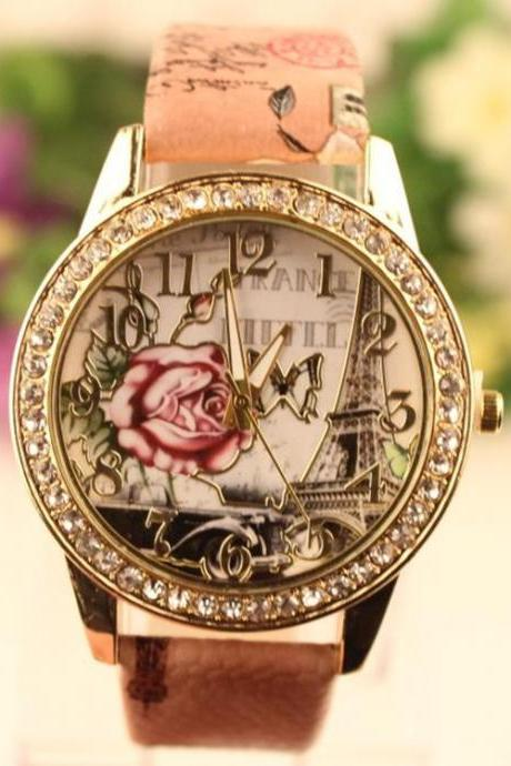 Retro Rosy Print Lady's Watch