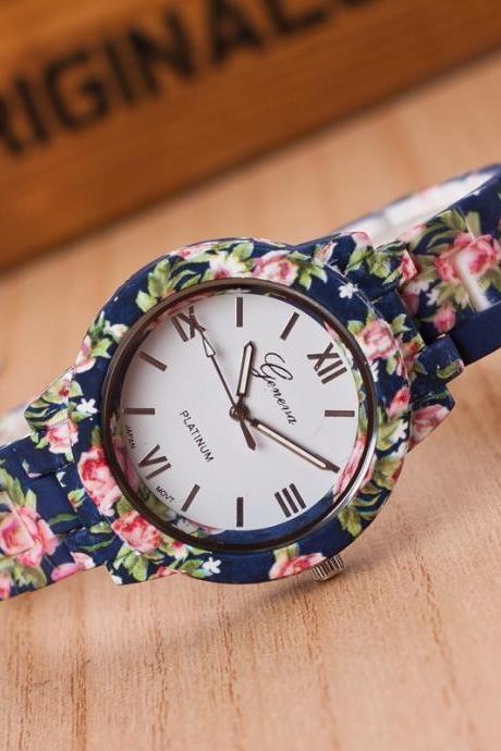 Floral Print Resin Fashion Watch