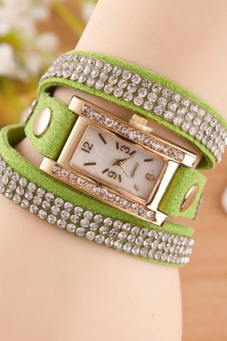Square Dial Crystal Fashion Watch
