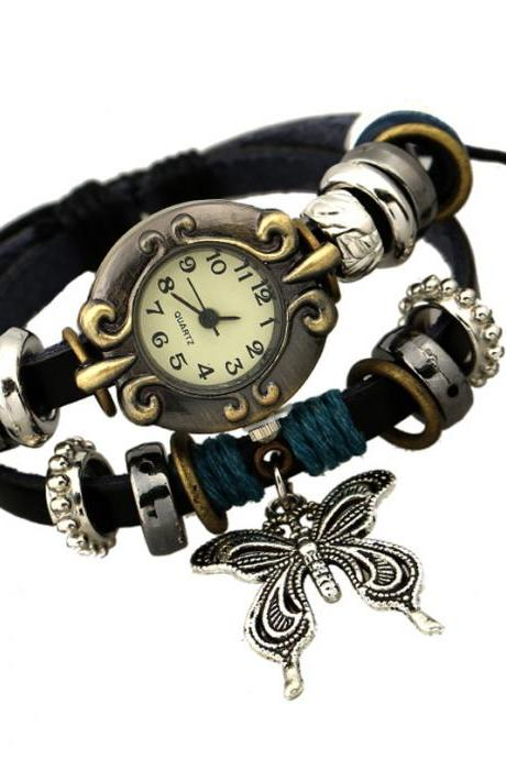 Sweet Butterfly Leather Bracelet Watch