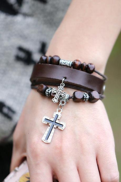 Cross Multilayer Leather Bracelet