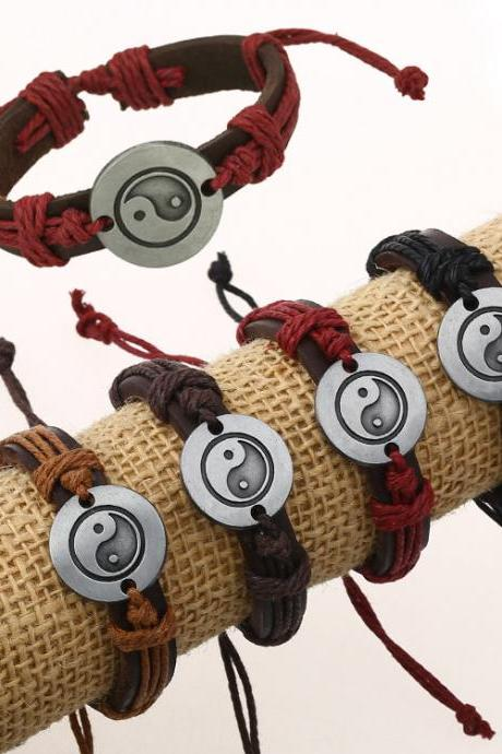 Unique Eight Diagrams Leather Bracelet Set