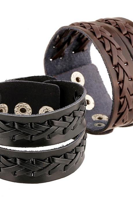 Punk Style Braided Wide Leather Bracelet