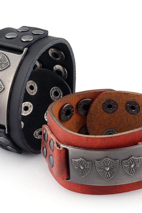 Retro Punk Shield Alloy Leather Bracelet