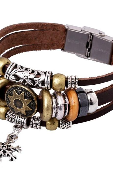 Korea Style Snowflake Leather Bracelet