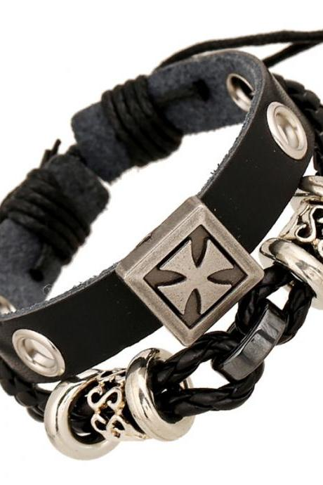 Punk Style Carving Cross Leather Bracelet
