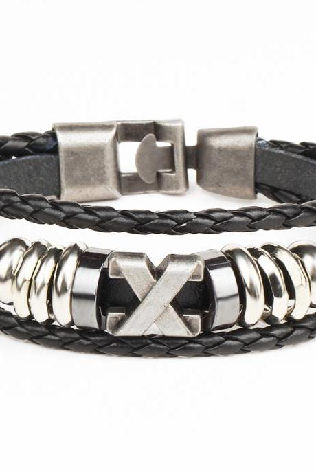 X Anchor Adjustable Woven Leather Bracelet