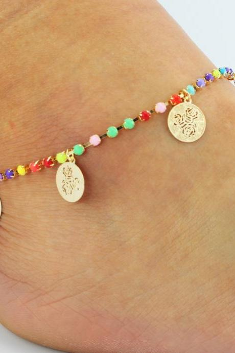 Claw Colored Crystal Rose Wafer Tassel Anklet
