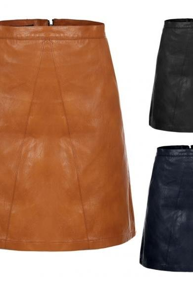 Women High Waisted Synthetic Leather Solid Mini A-Line Skirt With Pockets