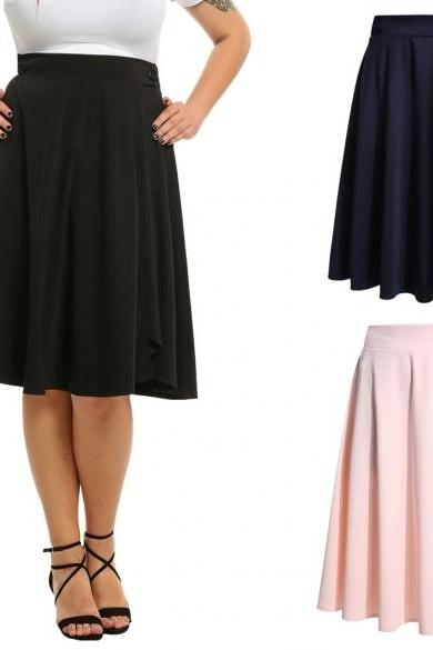 Polyester Solid High Waist Trumpet Midi Skirt