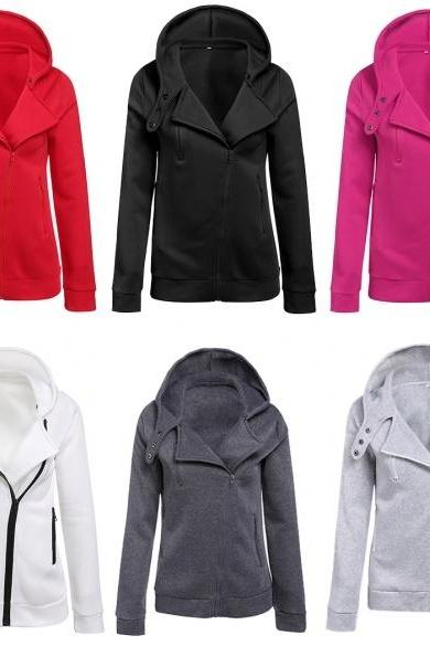 Casual Hoodie Oblique Zipper Coat Tops