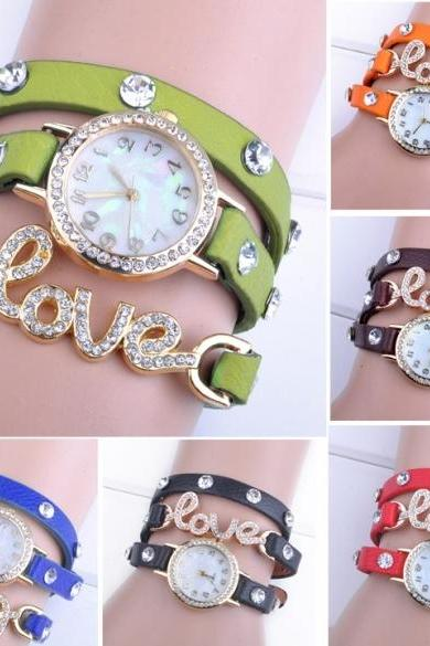 Hotsale Women Love Cz Dial Wrap Around Synthetic Leather Bracelet Quartz Wrist Watch New