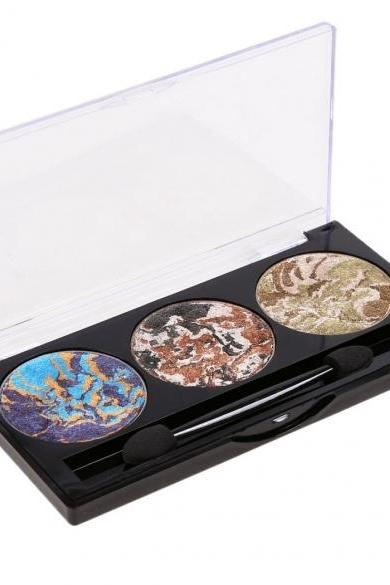 3 Colors Eyeshadow Makeup Cosmetic Baked Shimmer Eye Shadow Palette With Eye Shadow Sponge