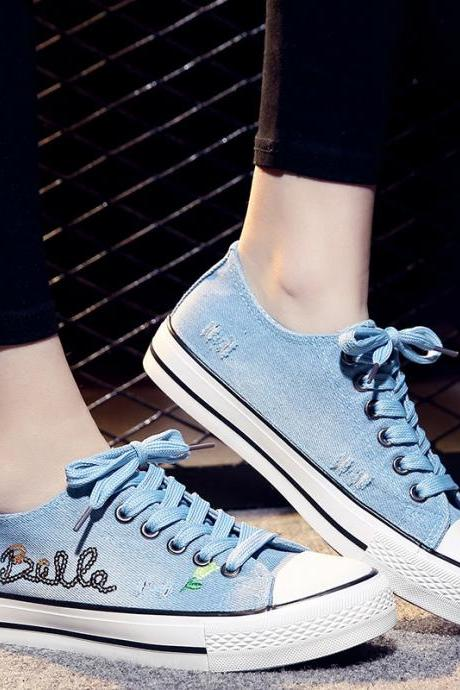 Low Top Denim Sequins Flat Sneakers