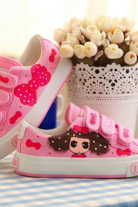 Cute Velcro Hand-Painted Canvas Sneakers