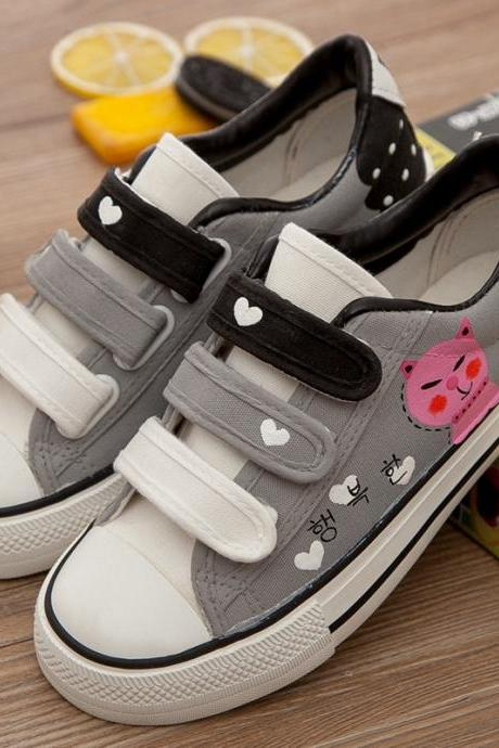 Sweet Velcro Hand-Painted Print Canvas Sneakers