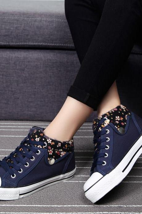 Flower Print Lapel Leisure Lace Up Sneakers