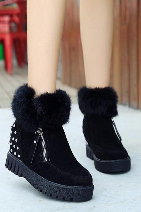Rabbit Fur Zipper Pure Color Fur Snow Boots