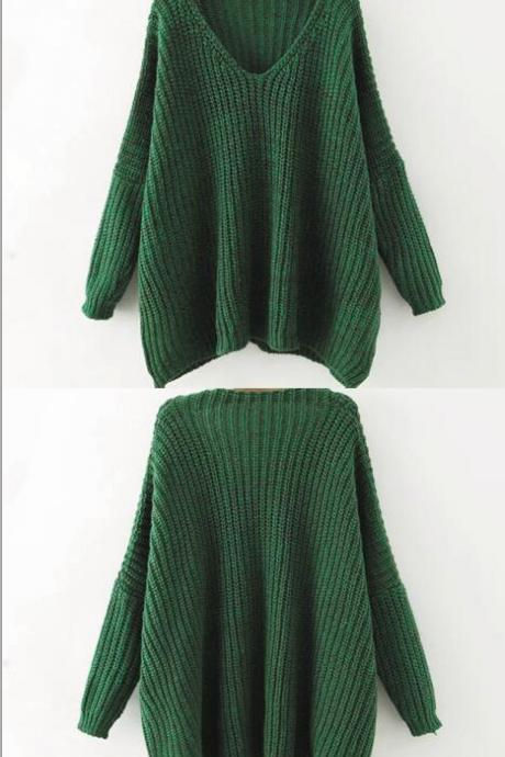 Knitted Plunge V Long Batwing Cuffed Sleeves Sweater