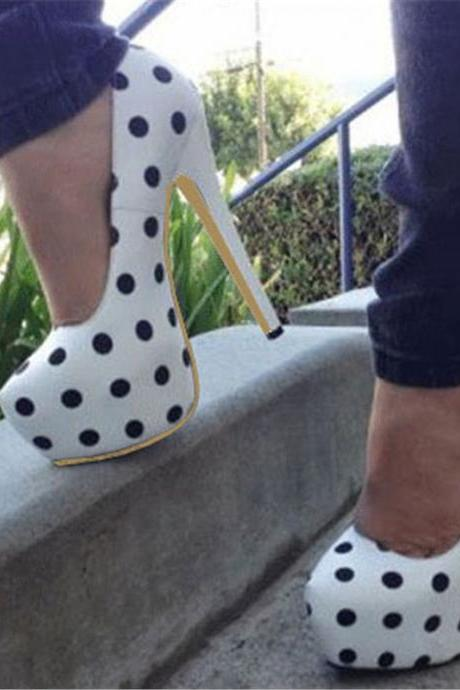 Rounded Toe Polka Dot Stiletto Pumps
