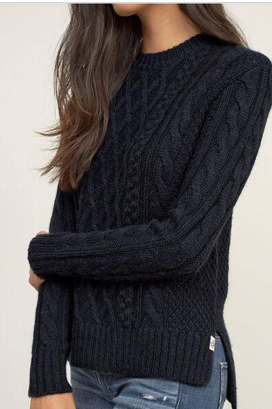 Braid Knitting Side Splitting Sweater