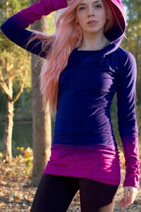 Fashion Gradient Color Long Sleeve Long Slim Hoodie