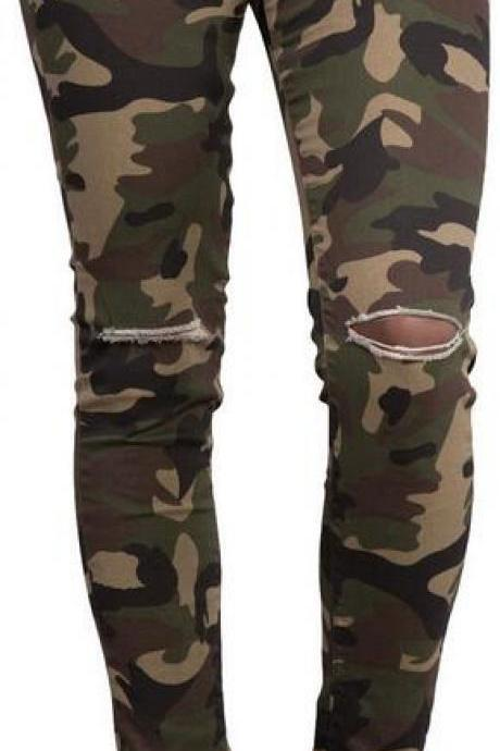 Camouflage Low Waist Split Knee Pencil Pants