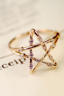 Cupronickel micro gold hollow out star ring
